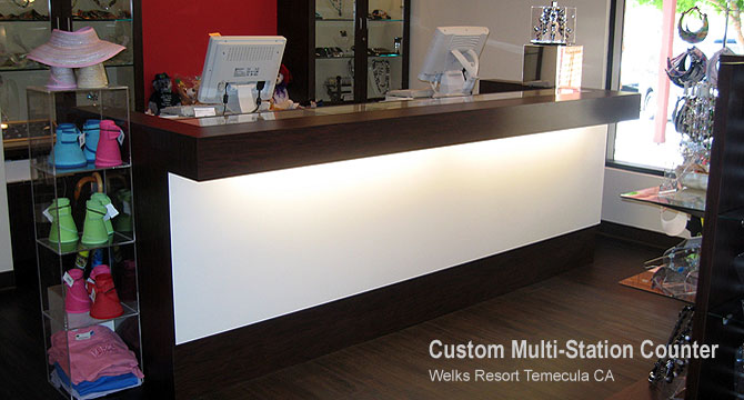 This custom multi-station retail store counter with overhang lighting was created and installed for Welks Resort in Temecula, California.