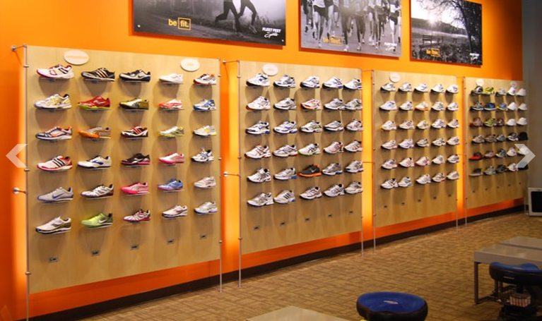 Retail shoe display ideas images for Sneaker wall display